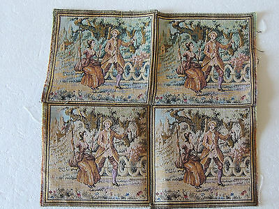 """French antique Victorian machine made needlepoint 1940-50 - four  6"""" square sewn"""