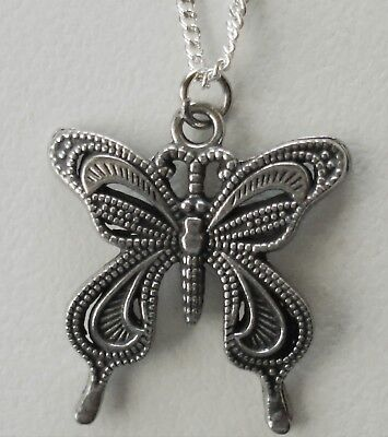 Chain Necklace #271 Pewter Butterfly with lace wings - dainty (27mm x 24mm)