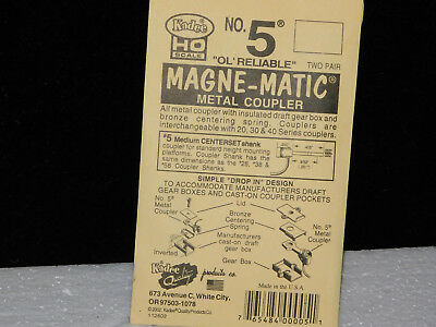 KADEE #5 ** MAGNE-MATIC ** Metal Couplers ** 2 PAIR/pk HO Scale Train *NEW*