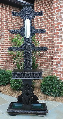 Antique French Victorian Gothic Oak Hall Tree Umbrella Stand Coat Hat Rack 19thC