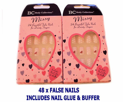 Body Collection 48 False Artificial Nail Tips Pink With White Dots Hearts New