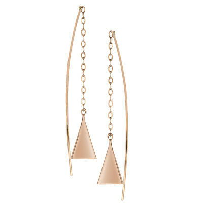 c8369991c WOMEN 14K ROSE Gold Hand Made Pyramid Threader Drop Earrings - $4.99 ...