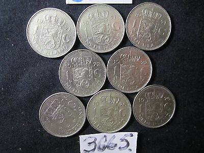 8 x One Guilden coins from NETHERLAND       48 gms      Mar3665
