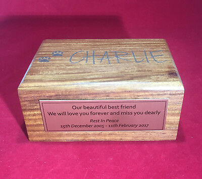 Pet Urn SMALL Personalised pet memorial timber urn with mahogany finish