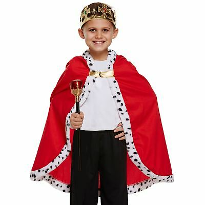 Childrens King Cape Royal Prince Cloak Medieval Books Day Fancy Dress Costume