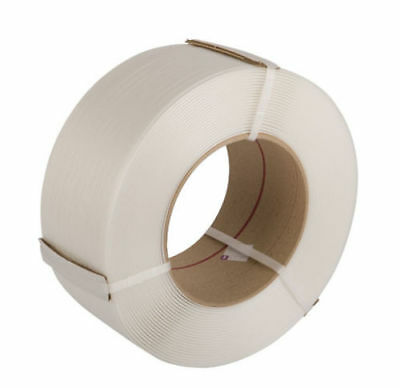 6mm x 0.55mm x 5000m White Polypropylene Machine Strapping Qty 1 Roll
