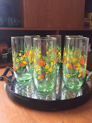 Vintage Green Glass Tumblers Orange & Yellow Flowers ~ 1960's 70's