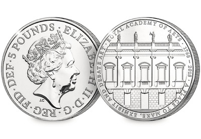 2018 UK Royal Academy of Arts CERTIFIED BU £5 Coin *Brand New*  [Ref H5BUC033]