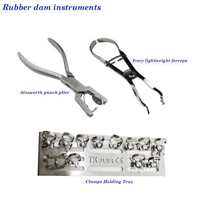 Dental Rubber Dam instruments Clamps Stand + Clamps Ainsworth Ivory lightweight