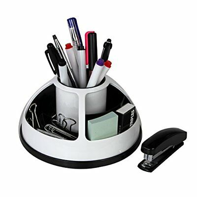 Rotating Office Supplies Desk Organizer Caddy – Plastic – Black and