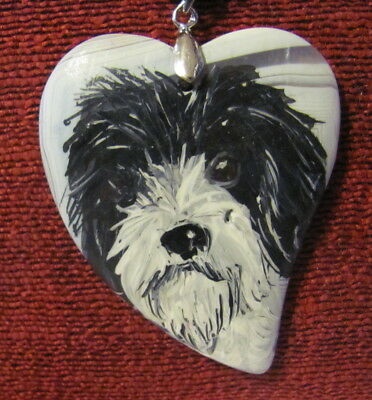 Petit Basset Griffon Vendeen hand painted on heart shaped pendant/bead/necklace