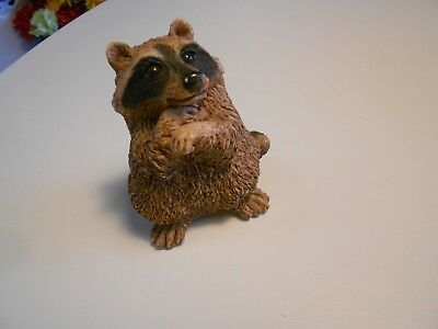 """Stone Critters 1984 Raccoon Figurine-By United Design-3 3/4"""" X 3"""" Very Good"""