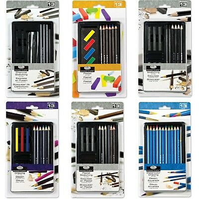 Drawing Artist Small Tin Sets-Pencil Watercolour Charcoal Sketching Paint-6 Sets