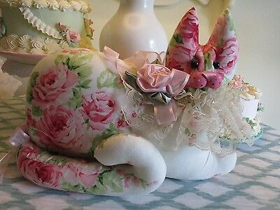 CoLLecTiBLe SHABBY PINK ROSES  HoMe DeCor KITTY CaT SHAPE PiLLow