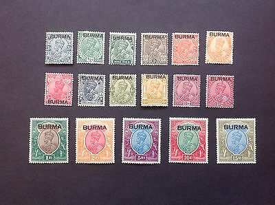 BURMA 1937 Overprint set on GV India.