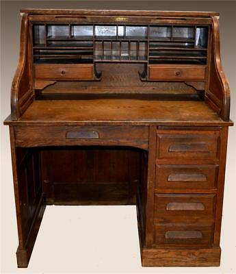 18223 Antique Oak Raised Panel Roll Top Desk