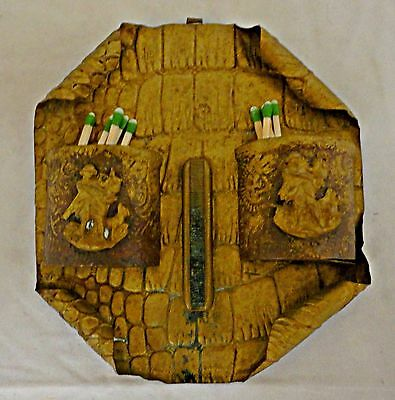 Vintage Brass Double Match Holder Wall Mount with Raised Figures/Dogs