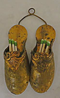 Vintage Brass Double Match Holder Ladies Shoes Wall Mount