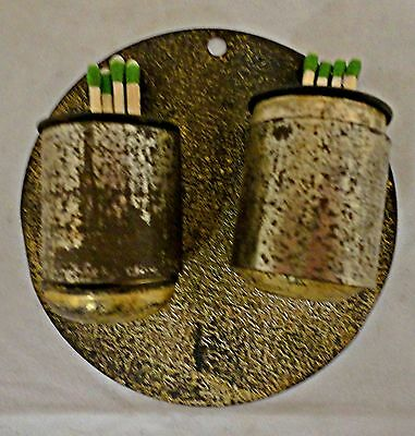 Vintage Brass Double Match Holder Wall Mount with Steel Holder Rings