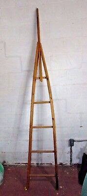 7 1/2' Primitive Rustic Antique Wood Orchard Ladder & Apple Picker VERY NICE