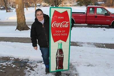 "Large Vintage c.1960 Coca Cola Fishtail Soda Pop Gas Station 54"" Metal Sign"