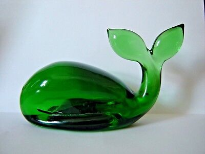 """Whale Figurine Paperweight Green Glass  4 3/4"""""""