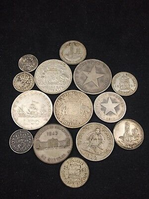 Vintage Silver Foreign Currency From Around The World (14) Coin Lot
