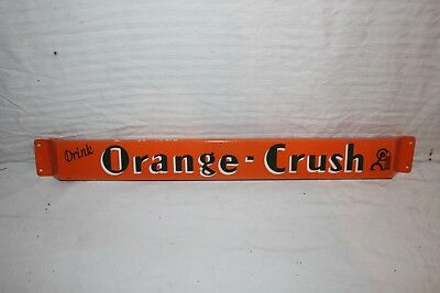 "Vintage 1940's Orange Crush Soda Pop 31"" Porcelain Metal Door Push Sign~Nice"