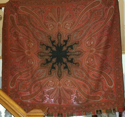 Very Nice Antique Paisley Wool Square Shawl with 7 Colors