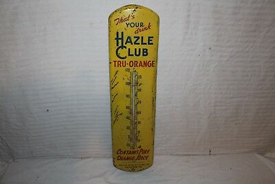"Vintage 1940's Hazle Club Tru-Orange Soda Pop 27"" Metal Thermometer Sign~Works"