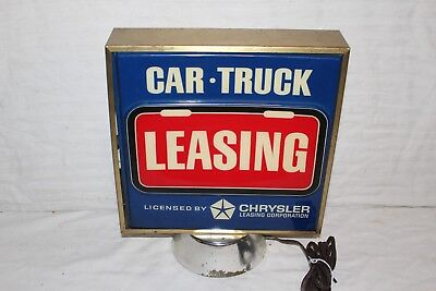 Vintage c1970 Chrysler Dodge Plymouth Gas Oil 2 Sided Embossed Lighted Sign~Nice