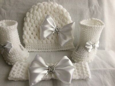 New Hand knitted Romany bling baby girl booties/crochet hat /headband 0-3 months