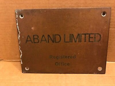 Vintage Brass Door Plate - ABAND LIMITED Registered Office