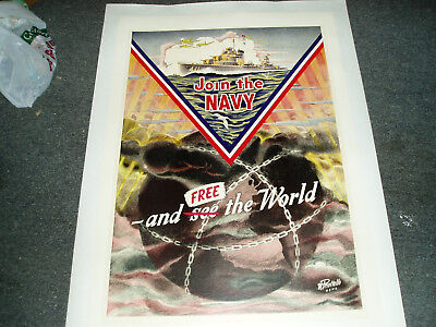Join The Navy And Free The World Wwii World War 2 Recruting Poster Very Rare