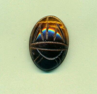 Vintage Loose Carved Tiger Eye Scarab 17Mm Tall