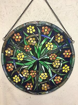 """Round Tiffany Style Stained Glass Window Panel Approx. 24"""" W/ Chain Flowers"""
