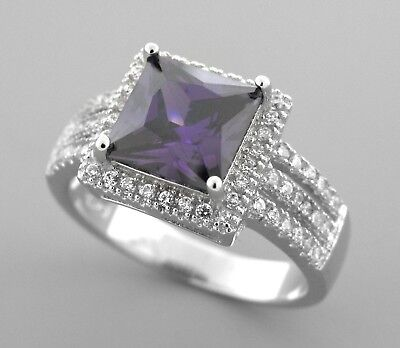 New Sterling Silver Ladies Purple Princess Cut Cz Cocktail Ring Size 8