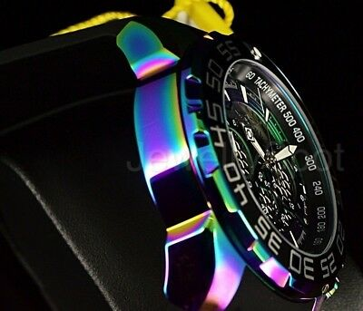 Invicta 50MM Speedway Twisted Metal Dial Iridescent Case Chronograph Strap Watch