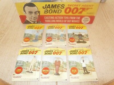 Gilbert Toys James Bond 007 Six  Figures With Rare Goldfinger Error Card 1965