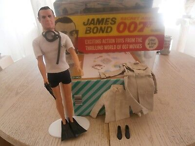 Gilbert Toys James Bond 007 Sean Connery Figure With Extras Coat Shoes Etc  1965