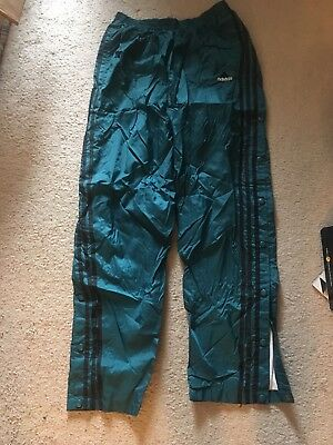 Adidas vintage nylon warm up pants lined with snaps- teal green and black- Large