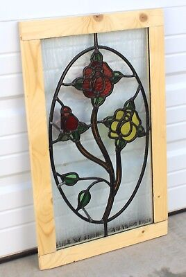 Vintage English 5-Color Leaded Stained Glass Window Reframed ROSE PATTERN
