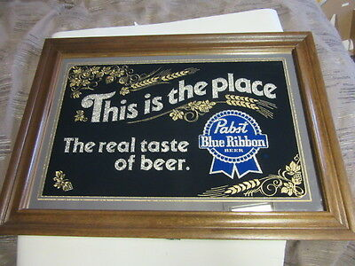 Vtg Pabst Blue Ribbon Beer Sign Mirror Old Smoked Glass Pbr Rec Room Bar Pub