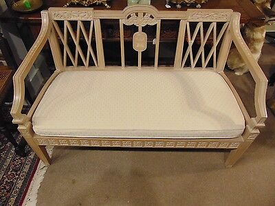 Adams Style Bleached and Inlaid Mahogany Settee