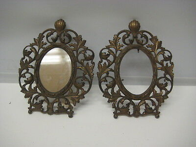 Pair of Ornate  Victorian Bronze Oval Frames