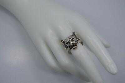 Vintage STERLING SILVER LION'S HEAD Ring Size 9