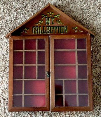 "Vintage 1970s ""My Collection"" Wood Curio Miniature Display Wall Cabinet Glass"