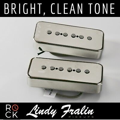 Lindy Fralin ALNICO Pole P90 Soapbar Pickups Hum Cancelling Set - NICKEL Covers