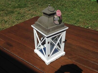 Haven Modern Provincial Lantern Distressed White Timber Large 56cm BNWT