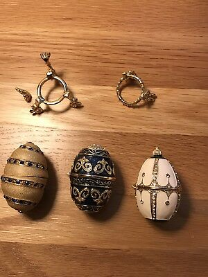 3 Egg Shaped Trinket Boxes Without Stands